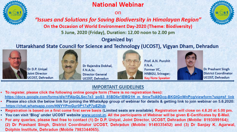 "National Webinar on ""Issues and Solutions for Saving Biodiversity in Himalayan Region"""