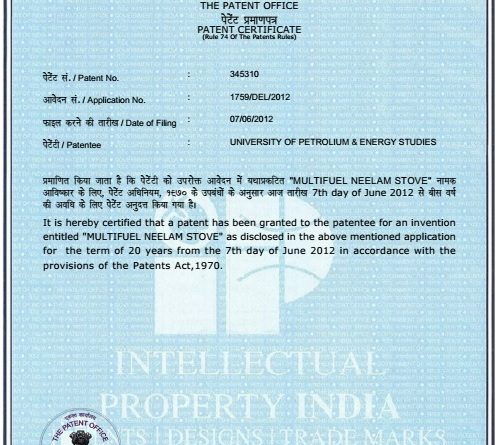 "UCOST supported ""Multi-fuel Cooking Neelam Chulha""Granted Indian Patent"