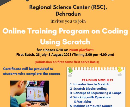 Regional Science Center (RSC) Dehradun is going to organize #Online_Training _Program_on_Coding_using_Scratch
