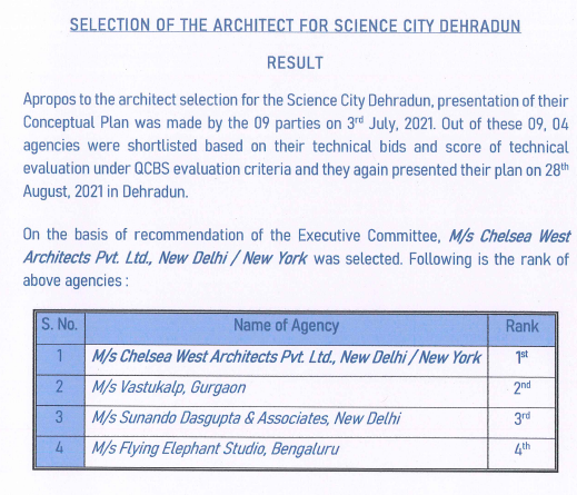 Result of Selection of the Architect for Science City, Dehradun